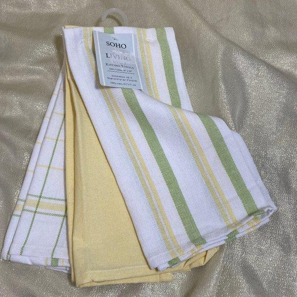 Kitchen Set Of 3 Green Yellow Dish Towels Cotton Poshmark